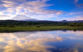 снежная вершина, отражения облаков, природа, озеро