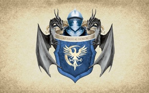 House Arryn, crest, medieval, artwork, Game of Thrones, paper