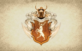 coats of arms, crest, Game of Thrones, paper, House Baratheon, artwork