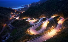 hairpin turns, long exposure, night, photography, road, landscape