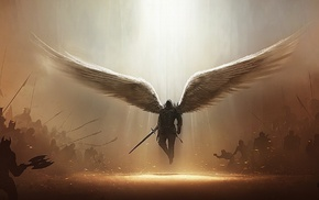 Tyrael, artwork, video games, Diablo III, angel