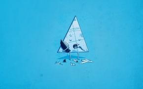 синий, треугольник, аниме, минимализм, просто