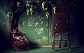 cat, keys, door, digital art, artwork