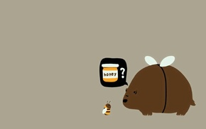 minimalism, simple, bears, bees, humor
