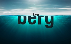 water, split view, blue, typography, iceberg, sea