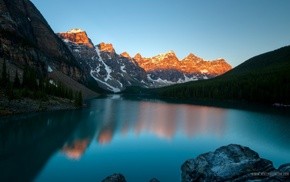 landscape, lake, Canada, mountain, sunset, Moraine Lake