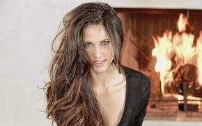 brown eyes, fireplace, brunette, Tiffany Thompson