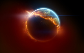 planet, space art, burning, Earth, fire