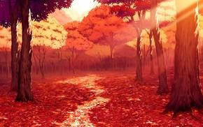 листья, солнечный свет, рисунок, красный, аниме