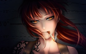 tattoo, badass, redhead, red eyes, anime girls, anime