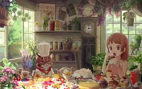 food, cat, tea, pastries, clocks, cakes