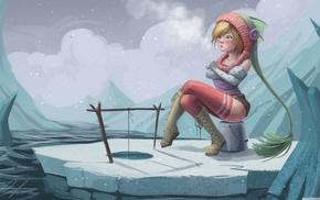рисунок, девушка, рыбалка, зима, фантастическое исскуство