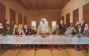 The Last Supper, Isaac Newton, Richard Dawkins, Julius Robert Oppenheimer, Stephen Hawking, Marie Sklodowska Curie