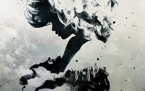 monochrome, Alex Cherry, paint splatter, silhouette, artwork