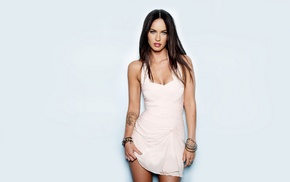 brunette, tattoo, actress, white dress, Megan Fox, celebrity