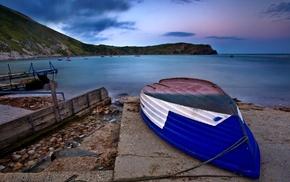 stones, summer, coast, boat