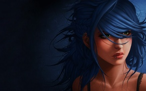 girl, blue hair, artwork, green eyes, piercing