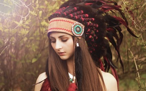 headdress, Native Americans, brunette