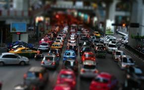 car, traffic, cityscape, tilt shift
