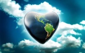 sky, heart, 3D