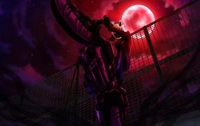 Durarara, Celty Sturluson, anime, anime girls, moon, bicycle