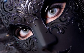 black, venetian masks, blue eyes