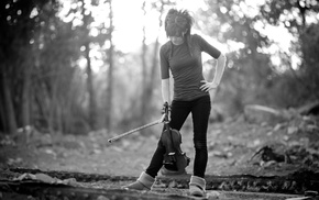 forest, Lindsey Stirling, girl, musicians, violin, monochrome
