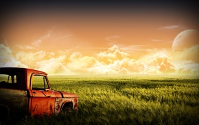 moon, red, landscape, green, old car, nature