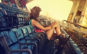 girl, wind, stadium