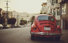 road, Volkswagen Beetle, depth of field, Volkswagen, red cars, car