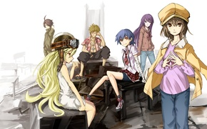 Oshino Shinobu, anime, anime girls, Araragi Koyomi, Senjougahara Hitagi, Kanbaru Suruga
