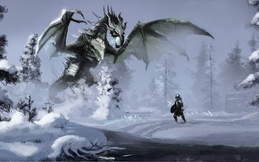 The Elder Scrolls V Skyrim, fantasy art, dragon, video games