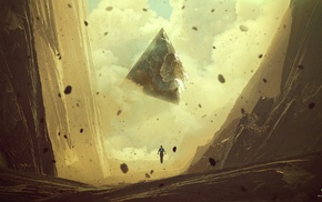Kuldar Leement, floating, anime, rock, fantasy art, artwork