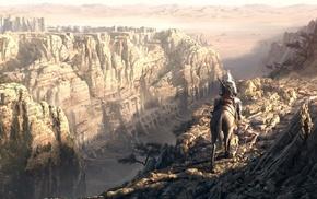 горы, фэнтези, одинокий воин, обрыв