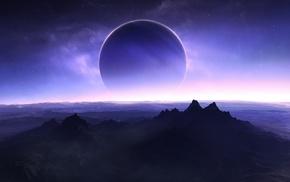 space art, mountain, solar eclipse, planet