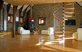 stairs, interior design, wooden surface