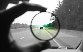 photography, car, road, selective coloring