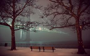 скамейка, вода, деревья, мост