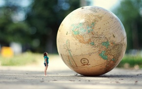 map, globes, photography, girl