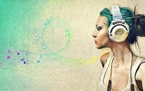 музыка, девушка, наушники
