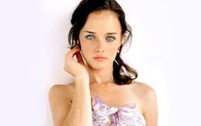 Alexis Bledel, brunette, freckles, face, actress, blue eyes