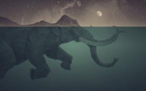 вода, слоны, произведение искусства