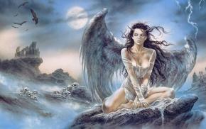 fantasy, girl, angel, mountain, wings