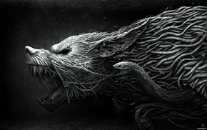 twigs, fantasy, snake, dog