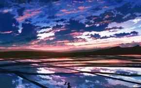собака, фантастическое исскуство, закат, небо, облака