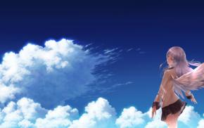школьницы, ангел, небо, аниме, школьная форма