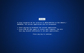 BSOD, Blue Screen of Death, blue, Microsoft Windows