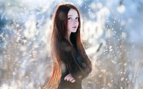 глубина резкости, девушка, рыжие, ветер, голубые глаза