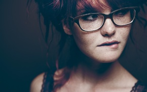 girl with glasses, biting lip, glasses, redhead, freckles, girl