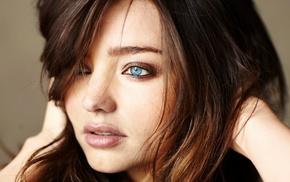 девушка, брюнетка, лицо, модель, голубые глаза